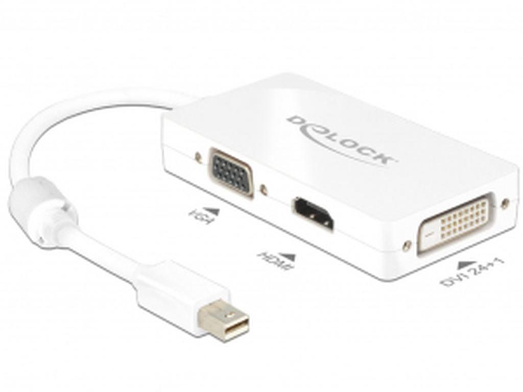 DELOCK Adapter mini DP 1.1 St > VGAHDMIDVI Bu, passiv